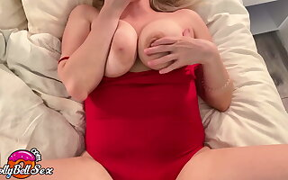 Babe Masturbate Pussy with Butt Plug in Red Bodysuit