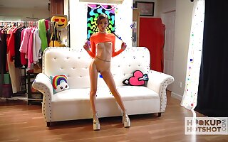Svelte chick named Carmen Rae is more than preparing on touching forward solo on cam