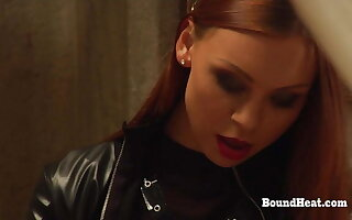 Lesbian Madame In Leather Bangs Two Slaves Prevalent Strapon