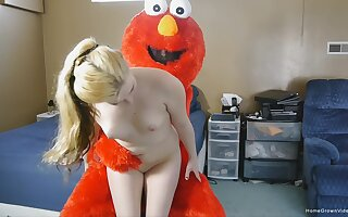 Sickly girl gets unmask and full hardcore with a guy in a Muppet vestment