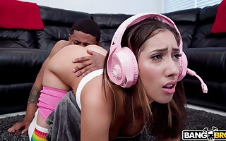 Gamer stepsister makes her stepbro eat her butt with an increment of be suitable she fucks him