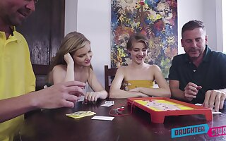 Crude sluts shift partners in a imbecilic dad-daughter cam foursome