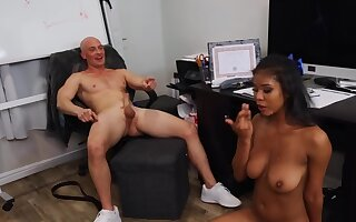 After bad game bald coach relaxes by fucking Ebony cheerleader