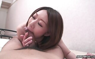 Japanese wife feels fantastic riding the brush lucky husband on top
