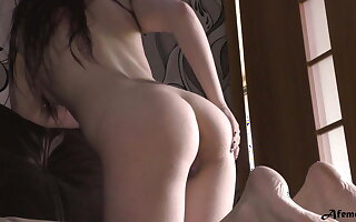 Hot Babe Sensually Massages Feet after Bathroom