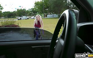 Pale blonde amateur Lexi Lore gets picked up and fucked by a non-native