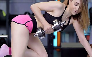 Hardcore fucking in the gym with pale clumsy Lana Bunny. HD
