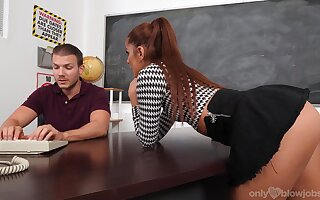Clothed BJ session in be passed on classroom prevalent a hot babe