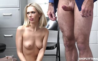 Shoplifter Sky Pierce drops on her knees to give hound and gets fucked