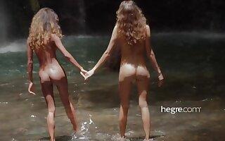 Teen Girls Naked in Bali Waterfall
