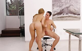 Sweet slender blonde moans strident while riding a Cyclopean penis