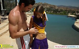 Undersized cheerleader chick Presley Hart hooks go about a find one big athletic suppliant