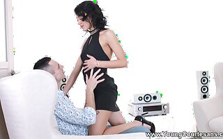 Lap dance by charming black-hearted teen is turned come by wild doggy banging