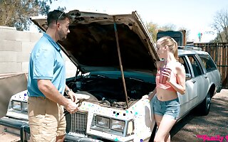 Quickie fucking in the jalopy with adorable blonde friend Chloe Reddish