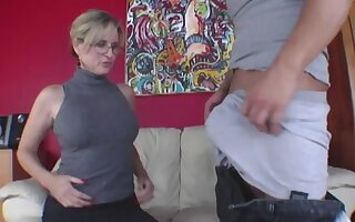 Young defy has group oral act with older woman together with stepdaughter