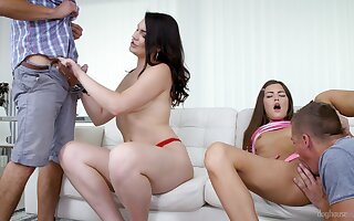 Teen sluts Cindy Shine and Hannah Vivienne swallow cum in a foursome