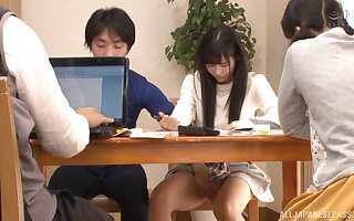 Shy Japanese teen babe seduced and fucked by her best friend