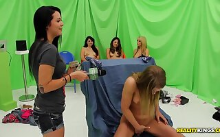 Nice interview with naked girls at the beach and in the pool