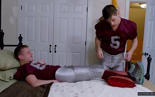 Hardcore gay cock riding with a teen couple after a football game