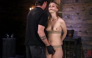 Perky skinny blonde teen Maya Kendrick gets a painful bondage session