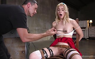 Blonde teen vixen Chloe Cherry force fed cock in mouth while tied up