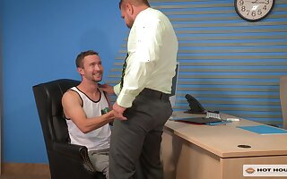 Teen gay dude pounded by his future boss in an office