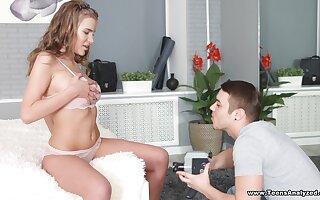 Russian teen bombshell Eva in an erotic cock sucking and riding scene