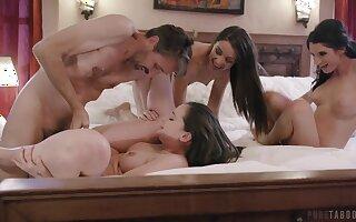 Lively hotties Gia Paige, Avi Love and Silvia Saige share a stud
