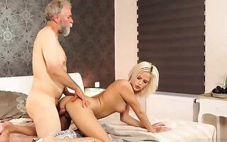 Daddy call me and chubby age-old granny Ria fell down from