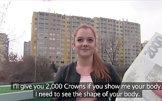 Young ginger gives up shaved lady bits to a sponger she just met