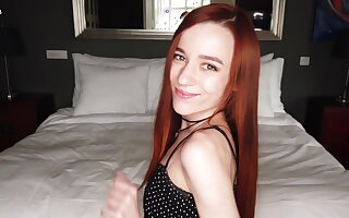 Redhead latitudinarian Sherice plays with her clitty coupled with fingers pussy