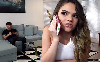 Kinky stepbrother is spying on masturbating stepsister Athena Faris
