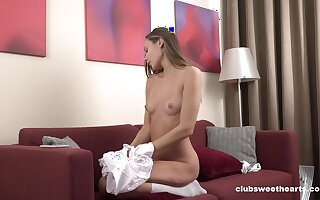 Desirable solo carve spreads her legs to feigning with a fake dick