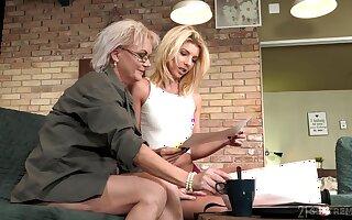 Aging lesbian Elvira is spoken for beautiful young body of 19 yo model Missy Luv