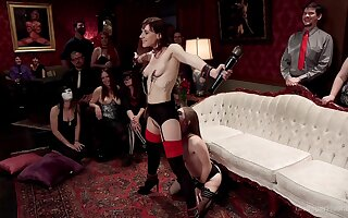 Alice Illustrate with an increment of Audrey Holiday are among the subs at one's disposal a BDSM party