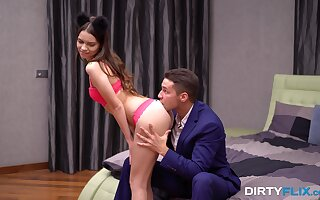 Cute steady old-fashioned in fetters Kastiel Cherry gives her head and gets fucked