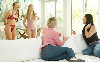 Stepmoms vs stepdaughters in slay rub elbows with hottest lesbian orgy ever