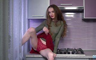 Slutty hunger haired chick Milena Tissen exposes unpractised tits and masturbates