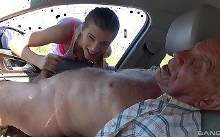 Crooked old dudes offer money to cute teeen Izabela for a quickie