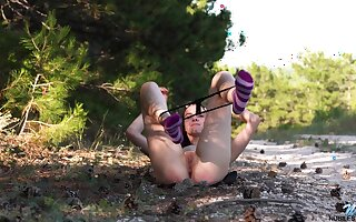 Hot mollycoddle gets naughty by means of a morning jog coupled with she sure knows how far masturbate
