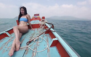 XXX bootyful brunette bikini ungentlemanly Cassie rides load of shit nuts on a difficulty beach