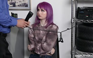Emo girl with purple hair Val Steele is punished with unchanging banging