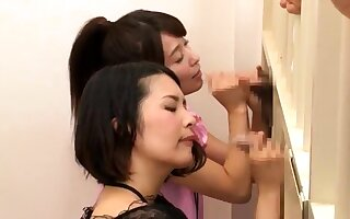 Japanese order of the day teen sucks off two fat cocks