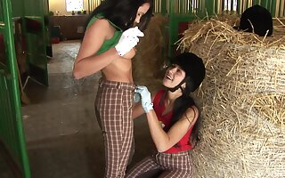 Kinky lesbian sex with a dildo between Angelica Treacherous and Lucy Bell